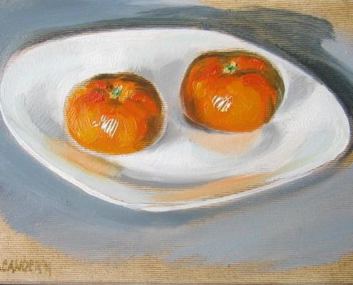 Mandarynki-studium, olej-płótno, 18x24 cm