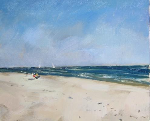 Plaża w Sarbinowie, olej-płótno, 33x38 cm