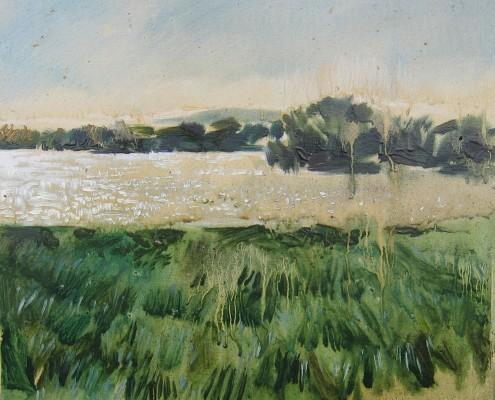 Jezioro, słonce, upał..., 33x38 cm
