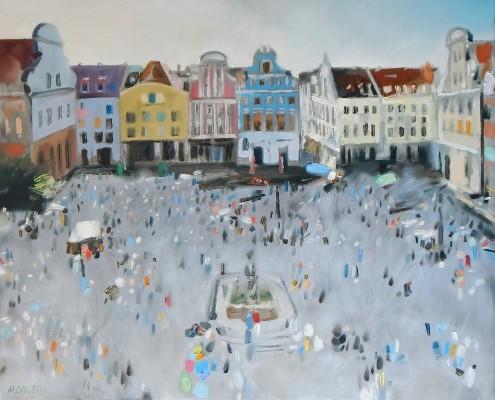 Szczecin-szarośc i kolor. olej.płótno. 65x80 cm