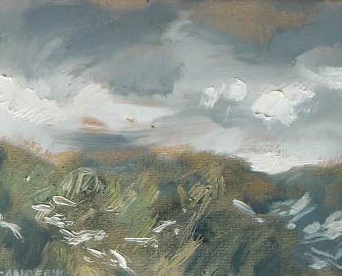 Tatry w chmurach-studium, 18x24 cm, 2015