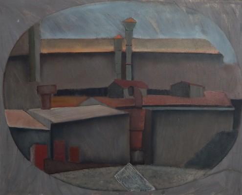 Pejzaż przemysłowy, 60x82 cm, 1986