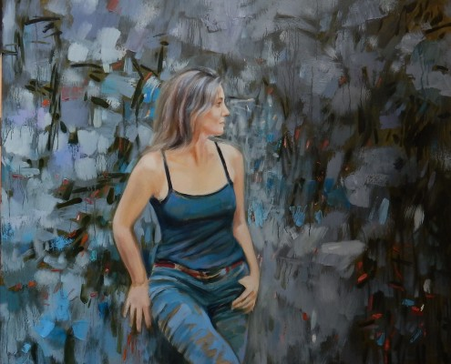 Dziewczyna na tle szarej ściany, olej, płótno, 65x80 cm, 2017
