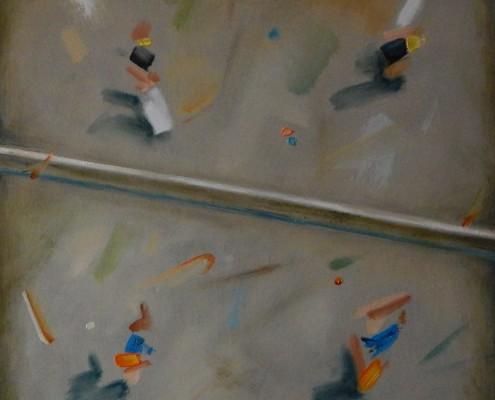 W stronę abstrakcji I, olej, łótno, 50x50 cm. 2016