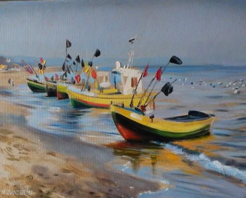 Kutry na plaży III, 40x50 cm