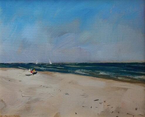 Plaża, 33x38 cm, olej płótno